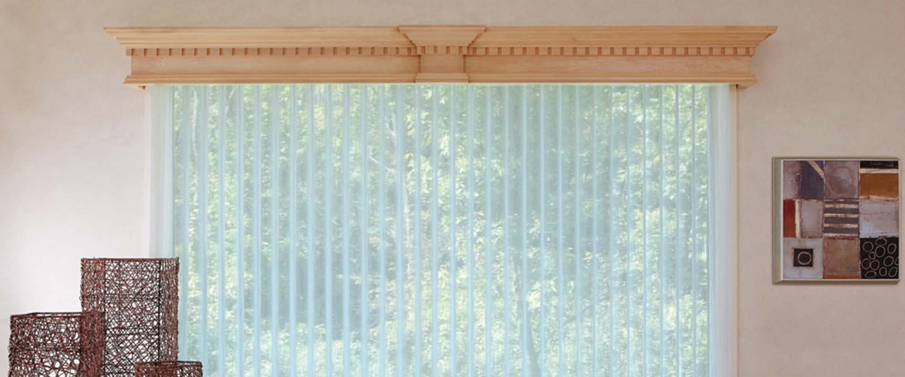 Wood Cornice Over Luminette Privacy Sheers